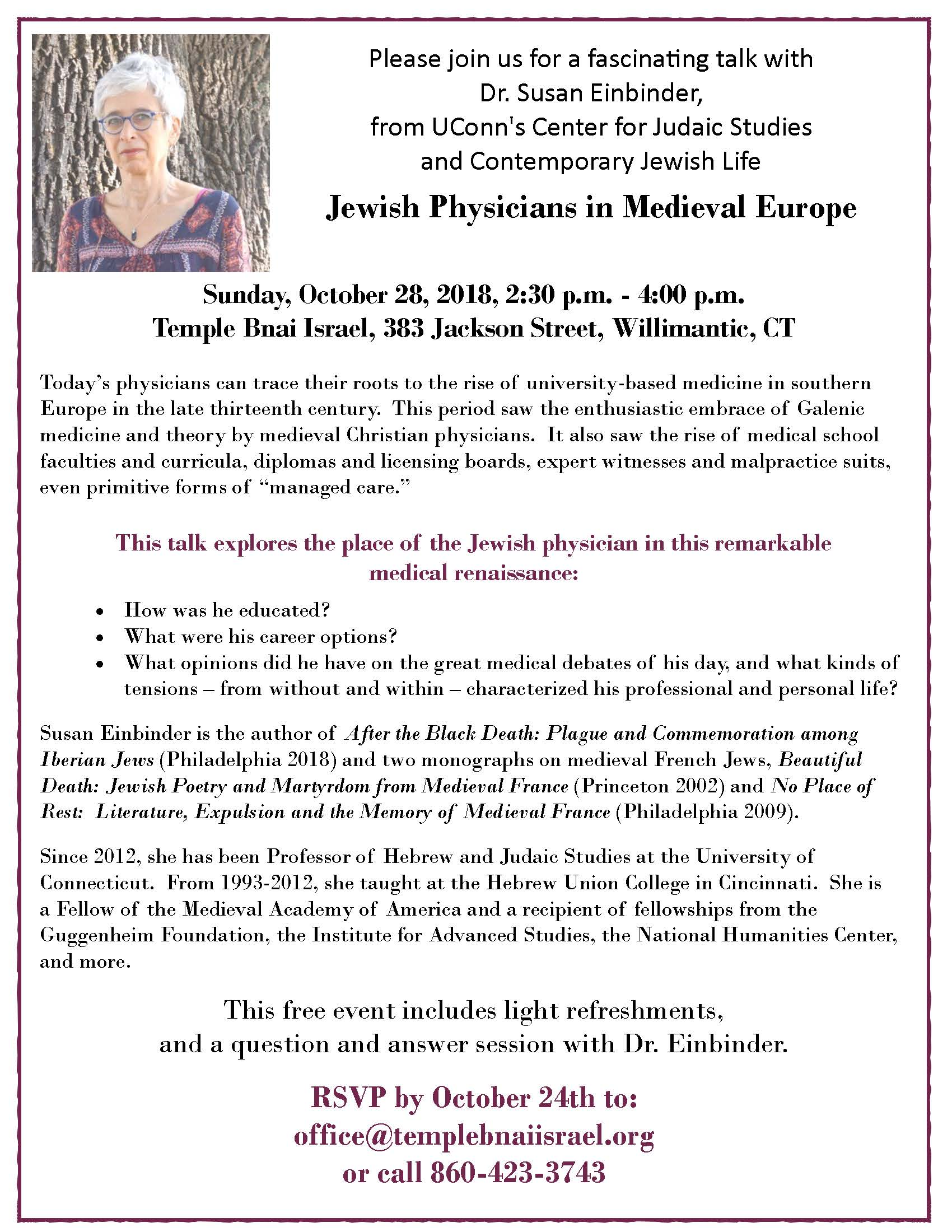 Jewish Physicians in Medieval Europe with Dr  Susan Einbinder, Oct